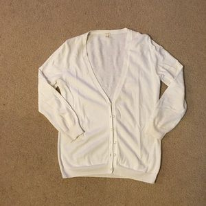 J. Crew Factory White Cardigan Sweater
